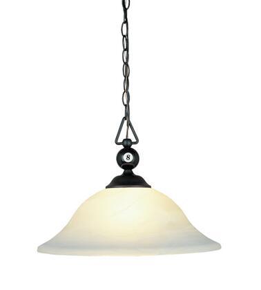 190-P-BK-G1-LED Designer Classics 1-Light Billiard/Island in Matte Black with White Faux Alabaster Glass Shade -