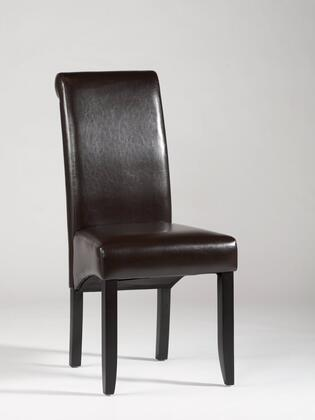 Roll Back Parson Collection ROLL-BACK-PRS-SC-BRW Parson Chair with Merlot Finished Legs and PU Leather Upholstery in Brown