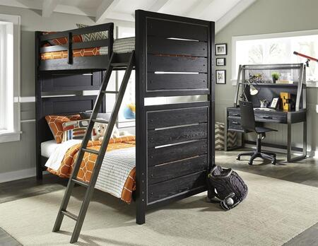Graphite 8942730731732BDHC 4 PC Bedroom Set with Twin Size Bunk Bed + Desk + Hutch + Chair in Black