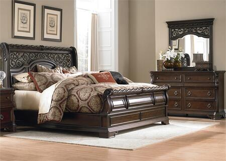 Arbor Place Collection 575-BR-KSLDM 3-Piece Bedroom Set with King Sleigh Bed  Dresser and Mirror in Brownstone