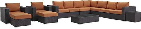 Sojourn Collection EEI-1885-CHC-TUS-SET 11-Piece Outdoor Patio Sunbrella Sectional Set with Coffee Table  Corner Section  Left Arm Loveseat  Right Arm Loveseat