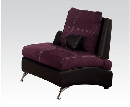 51752 Jolie Chair with 1 Pillow in Purple Suede and Black PU