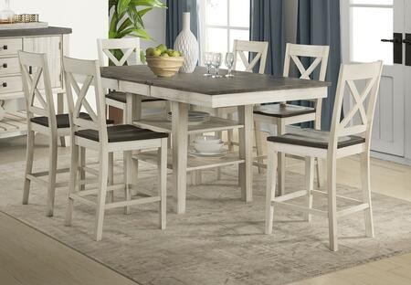 Huron Collection HURCOGT6XBS 7-Piece Dining Room Set with Gather Height Leg Table and 6x X-Back Barstools in Distressed Cocoa and Chalk