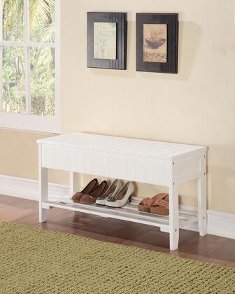 Xio Collection 98166 35 inch  Bench with Shoe Rack  Storage Space  Pine and Plywood Materials in White