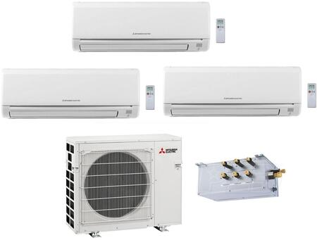 Triple Zone Mini Split Air Conditioner System with 27000 BTU Cooling Capacity  Three (9K) Indoor Units  and One Outdoor 864954