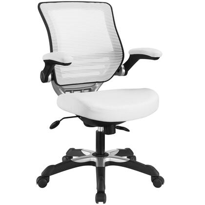 Edge Collection EEI-595-WHI Office Chair with Adjustable Seat Height  Flip-Up Arms  Casters  Tilt Tension Control  Mesh Backrest  Sponge Seat and Vinyl Seat