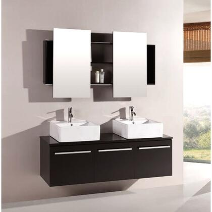 7017 Agni Series 59.25 inch  Double Vanity In Espresso With Glass Vanity Top In Black With Double