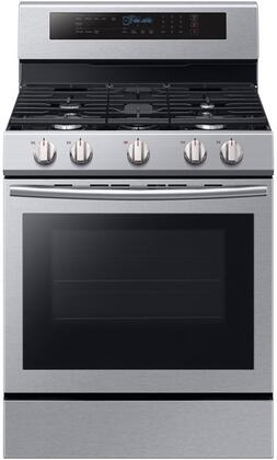 "NX58M6630SS 30"" Freestanding Gas Range with 5.8 cu. ft. Oven Capacity  5 Sealed Burners  True Convection  and Blue LED Illuminated Knobs  in Stainless"