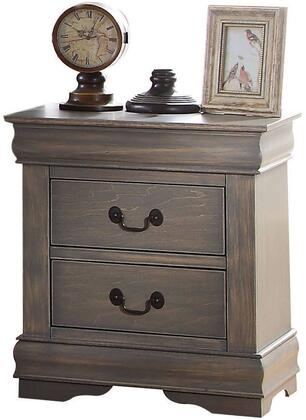 Louis Philippe Collection 23863 21 inch  Nightstand with 2 Drawers  Brushed Nickel Hardware  Center Metal Drawer Glides  Pine Wood and Gum Veneer Materials in