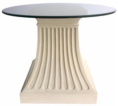Fluted Collection TB-G2428-36 36 Round Dining Table with Limestone Construction  Glass Top and Simple Curves in Natural