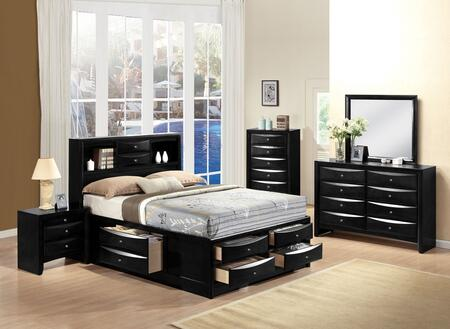Ireland Collection 21610Q5PC Bedroom Set with Queen Size Bed + Dresser + Mirror + Chest + Nightstand in Black