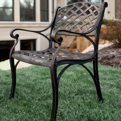 OMCH24AB Antique Brown Cast Aluminum Patio Chairs  Set of 2 in Antique