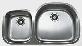 D537.60.40.10R 38 inch  wide Undermount Double Bowl Sink - 18-Gauge: Stainless Steel Big Bowl Location