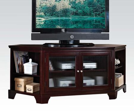 Namir Collection 91057 62 inch  TV Stand with 2 Glass Doors  4 Open Storage Compartments  Metal Hardware  Poplar Wood and Basswood Veneer Materials in Espresso