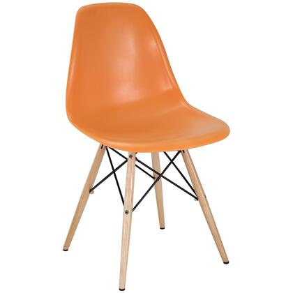 Pyramid Collection EEI-180-ORA Side Chair with Non-Marking Feet  Solid Beech Wood Tapered Legs  Acrylonitrile Butadiene Styrene (ABS) Plastic Seat and Backrest