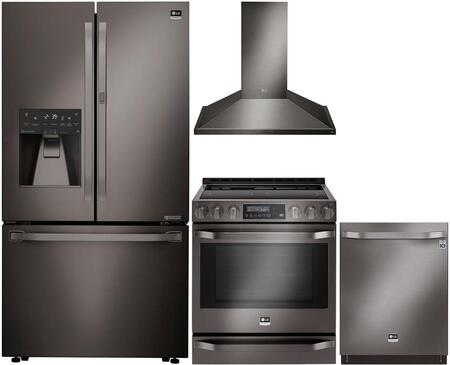 Studio Series 4-Piece Kitchen Package With LSFXC2476D 36 inch  Counter Depth French Door Refrigerator  LSSE3029BD 30 inch  Slide-in Electric Range  LSHD3089BD 30 inch  Wall