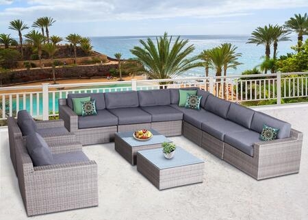 Vadella Collection VDLA-1007G 11 Piece Olefin Conversation Set with 2 Club Chairs  Left Arm Sofa  Right Arm Sofa  4x Armless Sofas  Corner Sofa and 2x Coffee