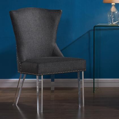 LCJACHCH Jade Modern and Contemporary Dining Chair in Charcoal Fabric with Nailheads and Acrylic