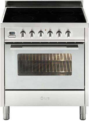 """UPSI76MPISS 30"""" Induction Series Freestanding Induction Range with 3 cu. ft. Oven Capacity 4 Elements Multi Function Convection Oven Full Width Warming"""