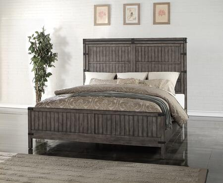 Storehouse Collection Zstr-700kb King Panel Bed With Heavy Distressing  Line Etchings And Dado Construction In Smoke Grey