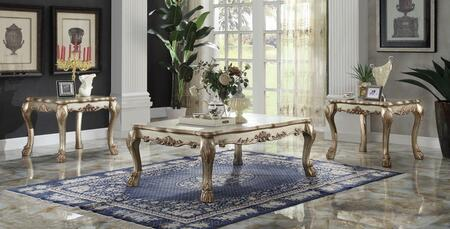 Dresden 83160C2E 3 PC Living Room Table Set with Coffee Table + 2 End Tables in Gold Patina