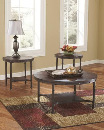Sandling Collection T277-13 3-Piece Occasional Table Set with Coffee Table and 2 End Tables in Rustic
