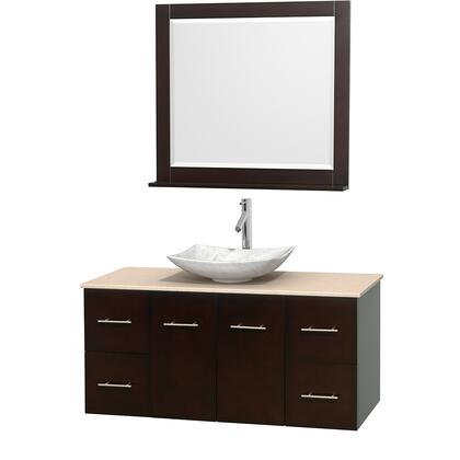 WCVW00948SESIVGS6M36 48 in. Single Bathroom Vanity in Espresso  Ivory Marble Countertop  Arista White Carrera Marble Sink  and 36 in.
