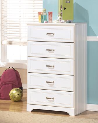 Lulu Collection B102-46 29 5-Drawer Chest with Grooved Panels  Embossed Framing Drawers and Side Roller Glides in
