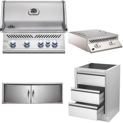 4-Piece Stainless Steel Kitchen Package with BIPRO500RBNSS2 31 inch  Natural Gas Grill  BISZ300NFT 20 inch  Side Burner  N3700358SS1 Double Access Door  and IM2DC 24 inch