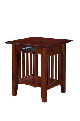 AH14214 Mission End Table With USB Charging Port  Electrical Outlet And Bottom Shelf In Antique