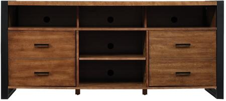 TC63-50005-Z380 Media Console 63 inch  with Partitioned Top Shelf  Faux Drawer Side Cabinets  and CMS Cable Management in Old World