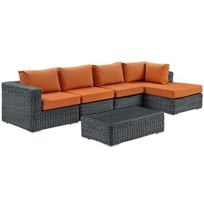 Summon Collection EEI-1900-GRY-TUS-SET 5-Piece Outdoor Patio Sunbrella Sectional Set with Coffee Table  Corner Section  Right Arm Chaise and 2 Armless Chairs