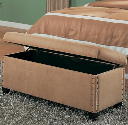 300368 Tan Microfiber Storage Bench by Coaster