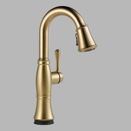Cassidy 9997t-cz-dst Delta Cassidy: Single Handle Pull-down Bar / Prep Faucet With Touch2o Technology In Champagne