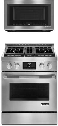 2-Piece Kitchen Package with JGRP430WP 30 inch  Freestanding Gas Range and JMV8208CS 30 inch  Over the Range Microwave Oven  in Stainless