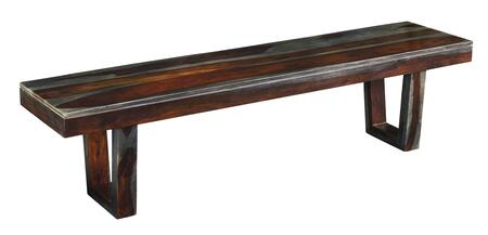 75360 70 inch  Dining Bench with Stretchers  U-shaped Legs and Wood Grains in Sheesham Highlight