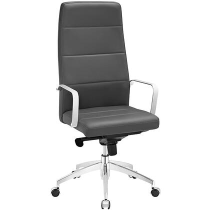 Stride Collection EEI-2120-GRY Office Chair with Adjustable Height  Swivel Seat  Polished Aluminum Base  Five Dual-Wheel Nylon Casters  Chrome Steel Frame and