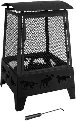 25319 Haywood Fire Pit with Decorative Wildlife Cutouts  Large Hinged Front Door  Built-In Wood Grate  Poker and Steel Construction in Black