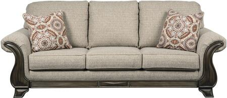 Claremorris Collection 1800338 93 inch  Sofa with Fabric Upholstery  Cushioned Back and Seating  Rolled Armrests and Short Decorative Feet in