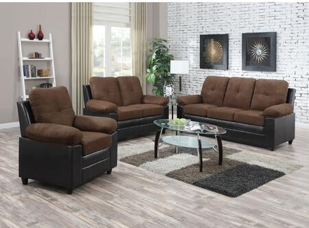 Santiana Collection 51365SLCT 6 PC Living Room Set with Sofa + Loveseat + Chair + 3 PC Table Set in Chocolate Easy Rider