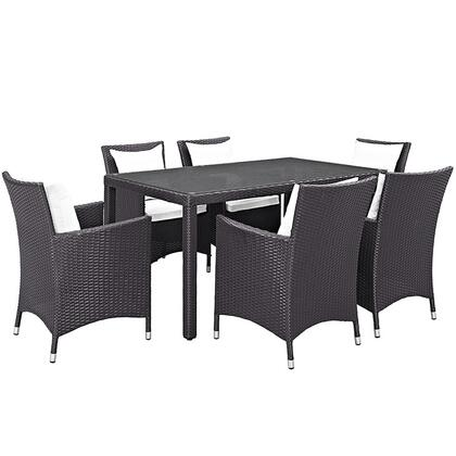 Convene Collection EEI-2241-EXP-WHI-SET 7 PC Outdoor Patio Dining Set with Powder Coated Aluminum Frame  All-Weather Fabric Cushions and Synthetic Rattan Weave