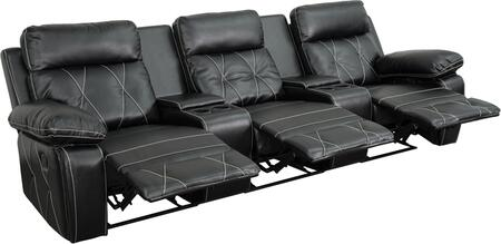 BT-70530-3-BK-GG Real Comfort Series 3-Seat Reclining Black Leather Theater Seating Unit with Straight Cup 548619