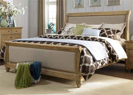 Harbor View Collection 531-BR-QSL Queen Sleigh Bed with Bun Feet  Distressed Finish and Bolt-On Rail System in