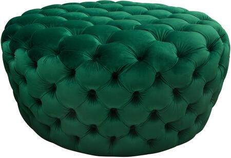 """Posh_Collection_POSHOTEM_36""""_Round_Accent_Ottoman_with_Plush_Velvet_Upholstery_and_Button_Tufting_in_Emerald"""