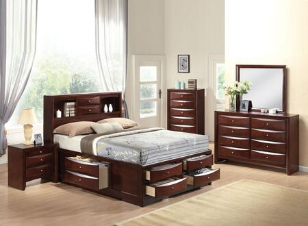 Ireland Collection 21600Q5PC Bedroom Set with Queen Size Bed + Dresser + Mirror + Chest + Nightstand in Espresso