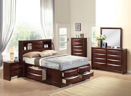 Ireland 21600q5pc Bedroom Set With Queen Size Bed + Dresser + Mirror + Chest + Nightstand In Espresso