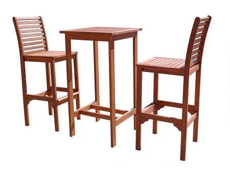 V495SET1 2  Acacia Bar Stools and V495T Outdoor Wood Bar