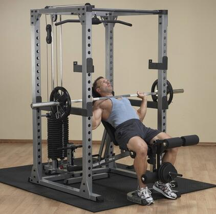 "GPR378SET1 Gym Set with Power Rack + Lat Attachment + 200 LB. Weight Stack + Multi-Purpose Bench + Leg Developer Attachment + 300 LB. Set with 86"""" Bar and"" 810531"