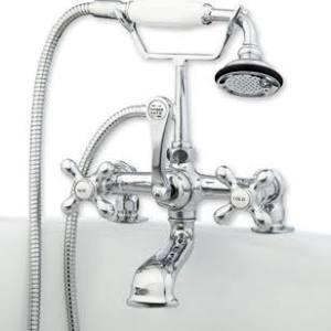 CAM463-2-CP Clawfoot Tub Deck Mount Brass Faucet with Hand Held Shower - Polished