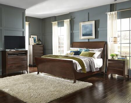 Contour Collection 4-Piece Queen Bedroom Set with Sleigh Bed  Nightstand  Chest and Media Chest in Cherry